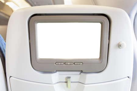 Vliegtuigen monitor passagiersstoel op een witte achtergrond Stockfoto