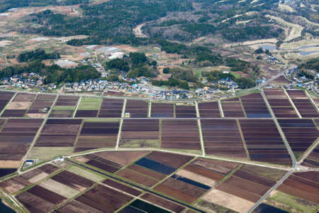 non cultivated: Rice meadows and fields near small Japanese village  Aerial view from aircraft  Japan