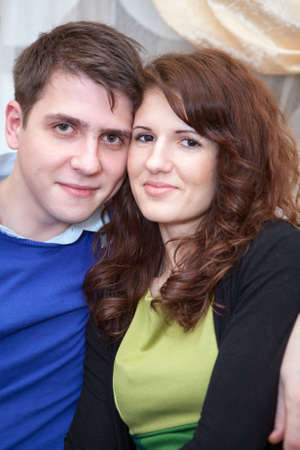 Cuacasian young couple portrait from woman and man together photo