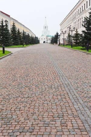 tatarstan: KAZAN CITY, RUSSIA - SEPTEMBER 25: The territory of the Kazan Kremlin-an architectural monument on September 25, 2011 in Kazan city, Russia.KAZAN CITY, RUSSIA - SEPTEMBER 25: Passage Sheykmana and Spasskaya tower on September 25, 20