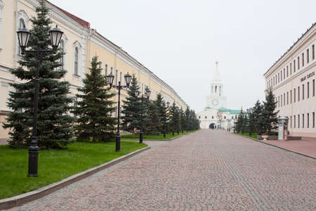 spassky: KAZAN CITY, RUSSIA - SEPTEMBER 25: Street Sheykmana and Spassky Tower in the Kazan Kremlin on September 25, 2011 in Kazan city, Russia. Kazan Kremlin is Russian the chief historic citadel of Tatarstan Editorial