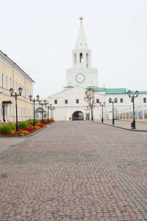 spassky: KAZAN CITY, RUSSIA - SEPTEMBER 25:  Inner yard with Spassky Tower on September 25, 2011 in Kazan city, Russia. Kazan Kremlin is Russian the chief historic citadel of Tatarstan