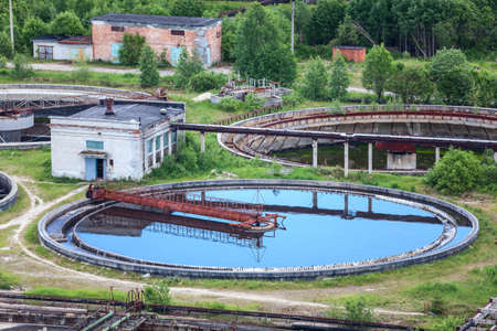 recycling plant: Wastewater filtering in water treatment plant, summer