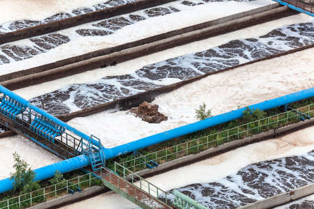 Wastewater aeration by oxygen supply in water treatment plant Stock Photo - 20891518
