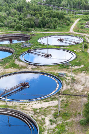 Group of round water treatment units in ab industrial factory photo