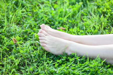 Barefooted attractive female legs laying in green grass photo