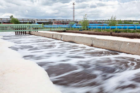 greywater: Volumes for oxygen aeration in wastewater treatment plant  Long exposure Stock Photo