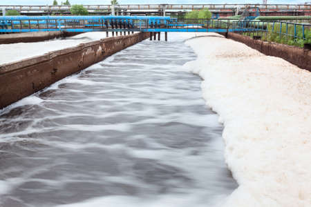 Tanks for oxygen aeration in wastewater treatment plant  Long exposure 免版税图像