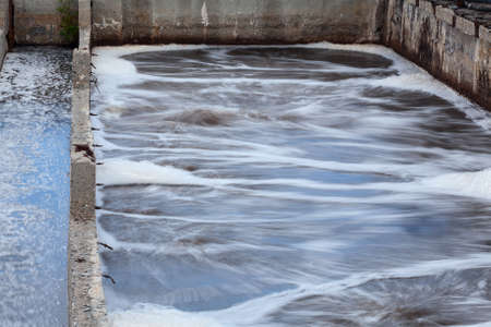greywater: Industrial tanks for oxygen aeration in wastewater treatment plant  Long exposure