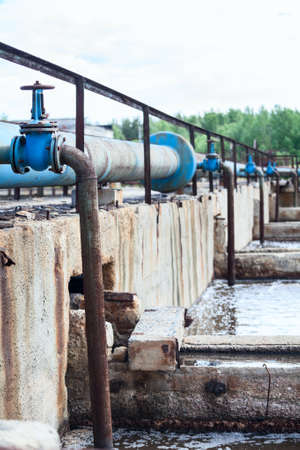 greywater: Pipelines for oxygen supplying into the sewage water in tanks Stock Photo