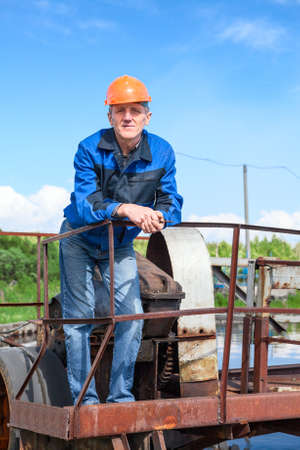water treatment plant: Portrait of senior manual worker in the water treatment plant