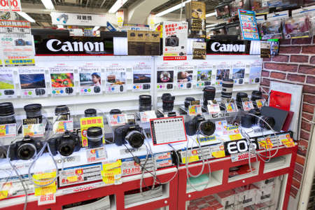 Showcase large Japanese store Bic Camera with cameras and lenses for Canon on circa April 2013 in Tokyo, Japan  Bic Camera Inc is consumer electronics retailer chain Stock Photo - 24186751