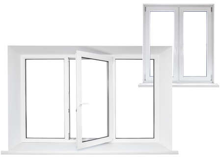triplex: White plastic triple door window with double door in chain