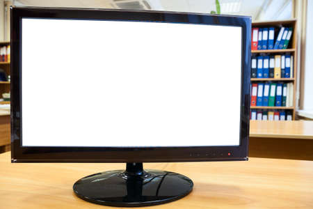Monitor with white cutout screen for simple text on office desk photo