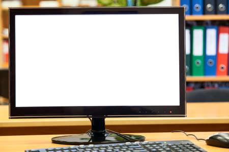 Monitor, toetsenbord, muis op het kantoor tafel, werkplaats Stockfoto