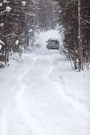 Riding on offroad car into evergreen forest on deep snow at winter photo