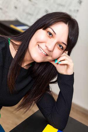 Happy Caucasian smiling woman portrait photo