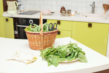Nettle leaves for cooking vegetarian food on the table photo