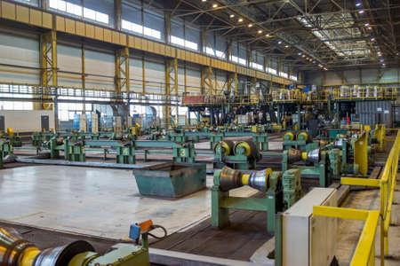 ferrous foundry: Workshop of metallurgy plant for pipeline checking