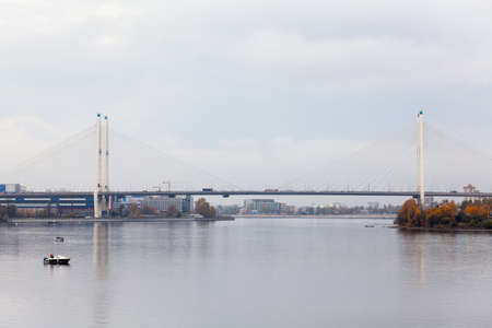Big Obukhovsky bridge across Neva river in Saint-Petersburg, Russia photo