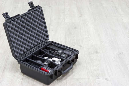 watertight: Waterproof plastic case with photo equipments inside
