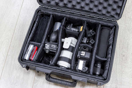 protector: Photo equipments arranged inside of the protector case Stock Photo