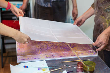 marbling: Silk fabric for marbling drawing from water, reprinting