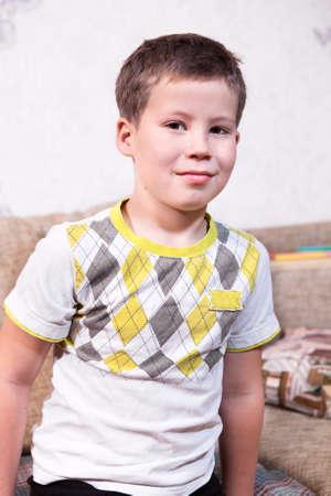 one boy only: Smiling Caucasian preschool boy portrait