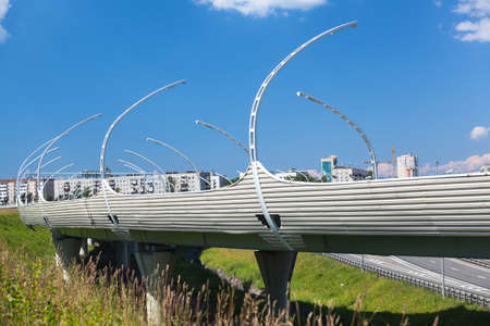 information superhighway: Overpass Western High-Speed Diameter (WHSD) over the encircling road (KAD), St. Petersburg, Russia