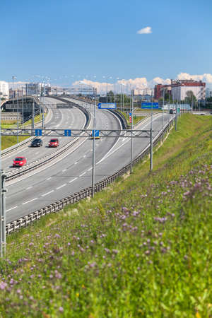 encircling: Road junction on the exit from the encircling highway, St. Petersburg, Russia Stock Photo