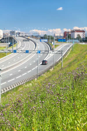 encircling: Road junction on the exit from the city encircling route with driving cars St. Petersburg Russia