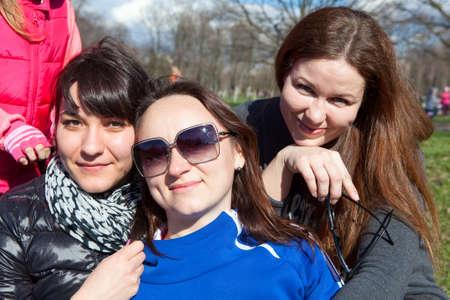 frendship: Three smiling Caucasian women portrait