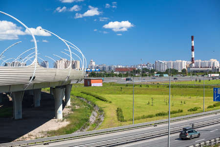 diameter: Overpass Western HighSpeed Diameter WHSD over the ring road KAD St. Petersburg Russia