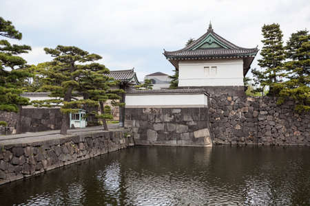 tokyo prefecture: The Kikyo-mon gate for entering tourists for walking tour is in ground of the Tokyo Imperial Palace. The Tokyo Imperial Palace is the main residence of the Emperor of Japan