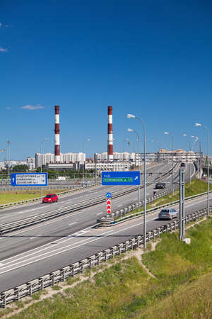 Exits and intercharges of St. Petersburg ringroad at summer season. Russia