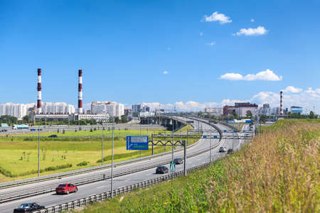 encircling: SAINT-PETERSBURG, RUSSIA - CIRCA JULY, 2014: Exit to the Saint-Petersburg city encircling highway. The federal public ringroad around the city