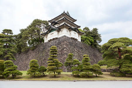 tokyo prefecture: Inner area of the Tokyo Imperial Palace ground with the Fujimi-yagura three-story keep and park trees. The Tokyo Imperial Palace, Japan Editorial