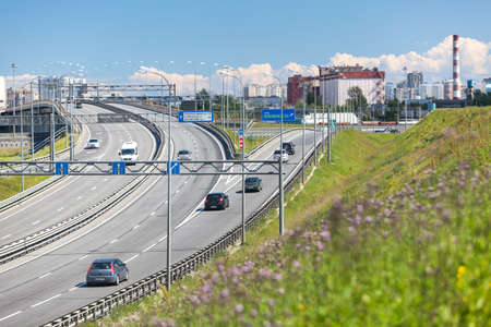 autotruck: Exits and intercharges of St. Petersburg ring road. Russia Editorial