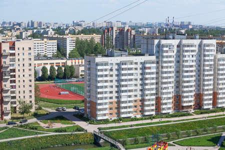 ST. PETERSBURG, RUSSIA - CIRCA MAY, 2014: Sleeping neighborhood is in Kirovsky district with stadium of sports school. Streets of Saint-Petersburg, Russia