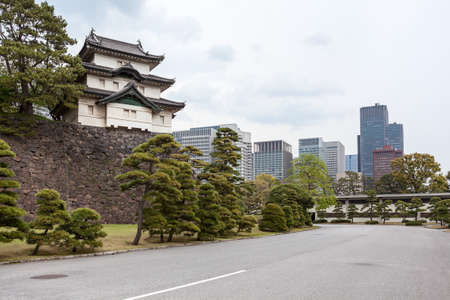tokyo prefecture: View from the Tokyo Imperial Palace ground at the Fujimi-yagura three-story keep and city buildings. The Tokyo Imperial Palace, Japan