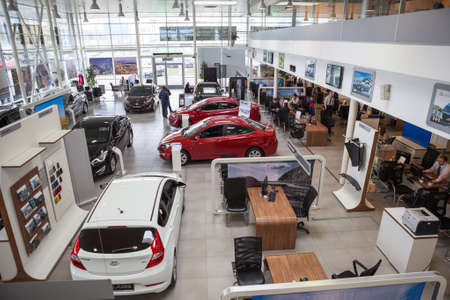 market hall: ST. PETERSBURG, RUSSIA - CIRCA APR, 2015: Top view of car dealership showroom. The Rolf Lahta is a official dealer of Hyundai