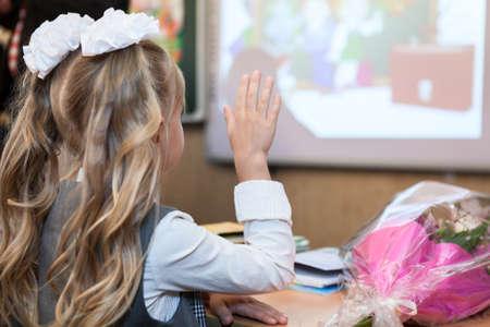 schoolgirl uniform: Schoolgirl rising her hand at lesson, rear view, copyspace