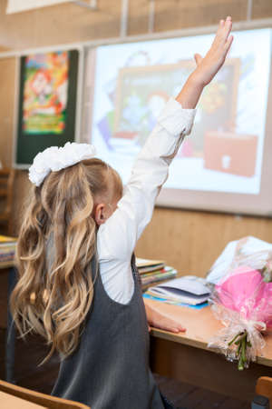 back up: Girl a student raising hand up for answer at school lesson, rear view Stock Photo
