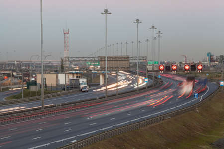 autotruck: Ring road in the evening. Long exposure. Highway in Pulkovo district. St. Petersburg, Russia