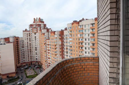 balcony view: View of the courtyard of a residential complex and the balcony of a house, a wide angle Stock Photo