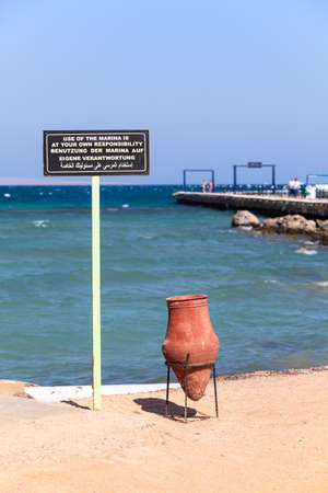 hurghada: Notice of responsibility of the use the marina at the Red Sea bay in Hurghada, Egypt