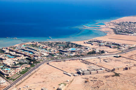 hurghada: Hotel resorts area on the Red sea coast in Hurghada, Egypt, top view