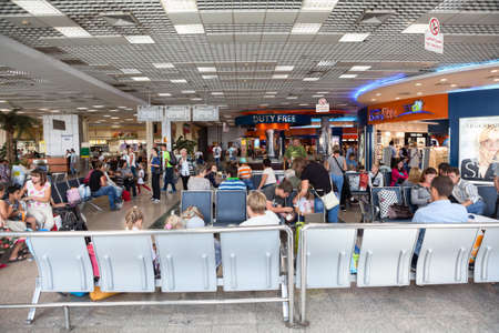 gatehouse: HURGHADA AIRPORT, EGYPT - CIRCA NOV, 2015: Passenger traffic of Russian tourists is in Hurgada International Airport. People are expected departure and evacuation from Egypt to Russia