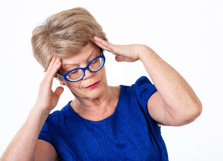 head pain: Senior woman with head pain, white background