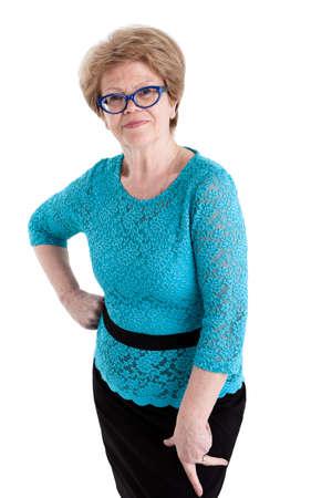 persona mayor: Retrato de una mujer caucásica mayor en gafas, aislado en fondo blanco